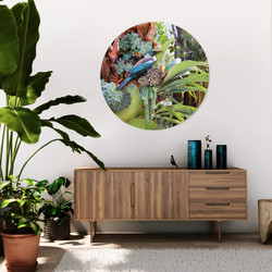 Tui & succulents circular frameless glass or aluminium wall art
