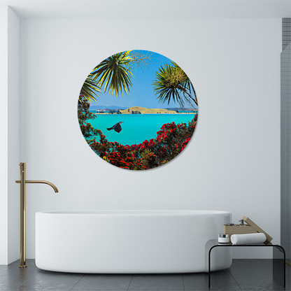 Brown's Island & flying Tui circular aluminium or glass bathroom art