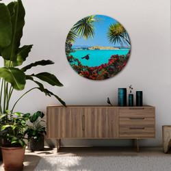 Brown's Island & flying Tui circular aluminium or glass indoor / outdoor art
