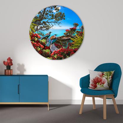 Tui, Pohutukawa and ocean - circular aluminium or glass wall art