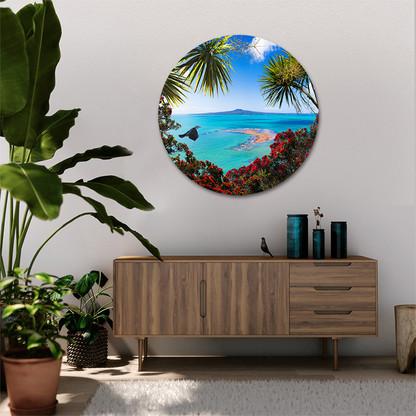 Tropical circular Rangitoto and Tui glass or aluminium artwork