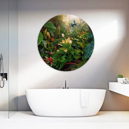 A Tui flies through the Garden of Eden - circular glass or aluminium wall art