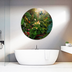 A Tui flies through the Garden of Eden - circular glass or aluminium wall art