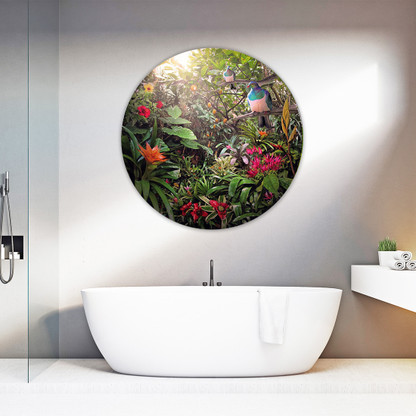 Wood Pigeon in lush Garden of Eden - round glass or aluminium bathroom art