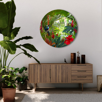Tui in tropical garden - round glass or aluminium wall artwork