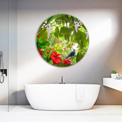Tropical Tui & hibiscus round aluminium or glass bathroom wall art