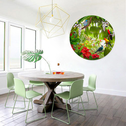 Birds of Paradise circular glass or aluminium wall art