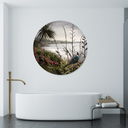 Tui looking out to sea, round glass or aluminium bathroom wall art