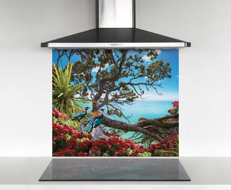 900x750mm DIY glass splashback with 2 NZ Tui birds on Pohutukawa