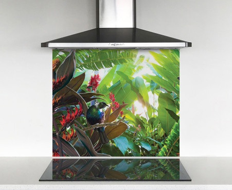900x750mm DIY glass splashback with Tui bird in tropical garden