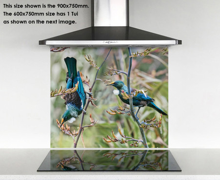 600x750mm glass wall art with Tui birds on flax