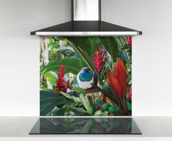 900x750mm DIY glass splashback with Wood Pigeon in tropical garden