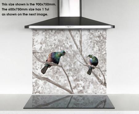 900x750mm DIY glass splashback singing Tui birds in tree