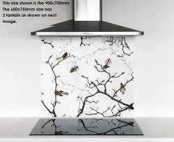 900x750mm DIY glass splashback Fantails on Blossom tree