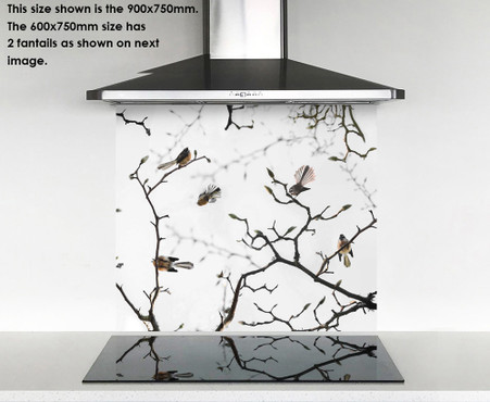 900x750mm DIY glass splashback Fantails on Blossom tree