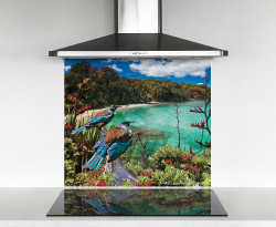 900x750mm DIY glass splashback- 2 Tui birds gazing over the bay