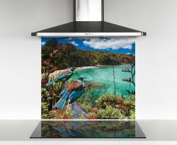900x750mm DIY glass splashback- 2 Tui birds gazing over the bay