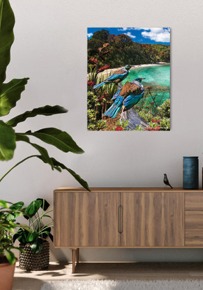 600x750mm glass wall art - 2 Tui birds gazing over the bay