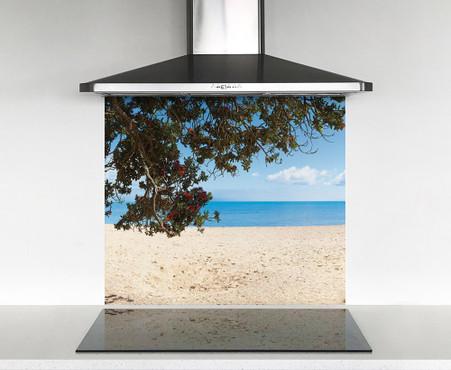900x750mm DIY glass splashback Pohutukawa and sea