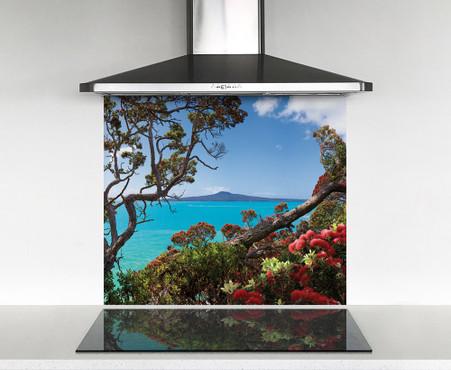900x750mm DIY glass splashback Rangitoto & Pohutukawa view