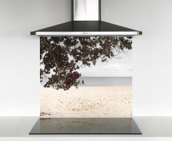 900x750mm DIY glass splashback Pohutukawa and sea
