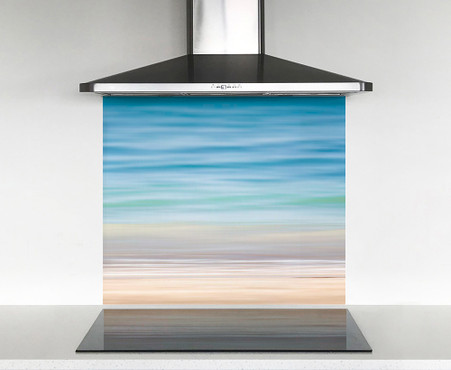 900x750mm DIY glass splashback tropical waters and sand