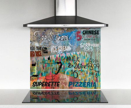 900x750mm DIY glass splashback abstract text / graphic collage