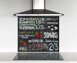 900x750mm DIY glass splashback blackboard / collage