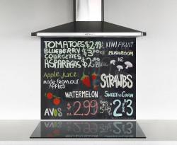 900x750mm DIY glass splashback blackboard / collage