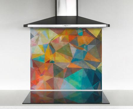 900x750mm DIY glass splashback geometric bright paint
