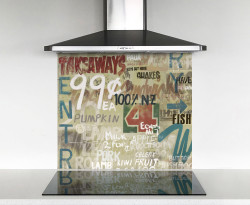 900x750mm DIY glass splashback Kiwiana 4 Square signs
