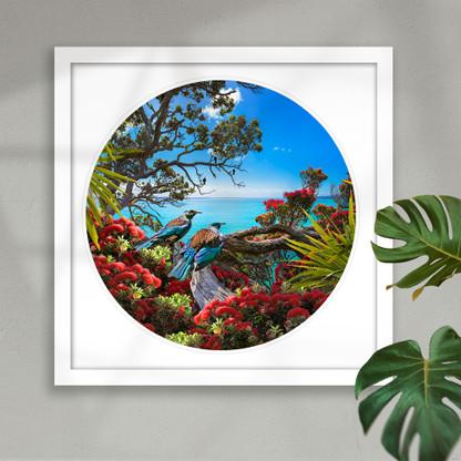 Tui & Pohutukawa circular framed artwork