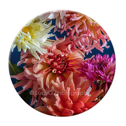 Circular ceramic Dahlia wall art tile 3