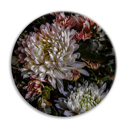 Chrysanthemum 1 - circular ceramic wall art tile