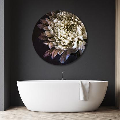 """'""""Chrysanthemum 3'' circular aluminium bathroom art"""