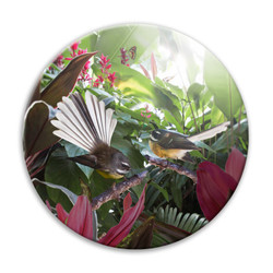 'Lost in Paradise'' NZ landscape circular ceramic wall art tile 20cm diameter