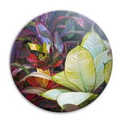 ''Solitude'' tropical plants and butterfly circular ceramic wall art tile