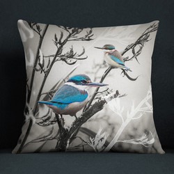 NZ Kingfisher bird art cushion