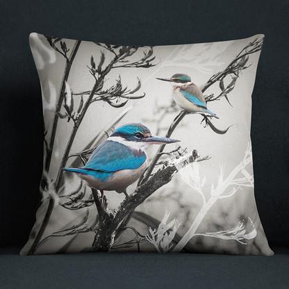 NZ Kingfisher bird art cushion
