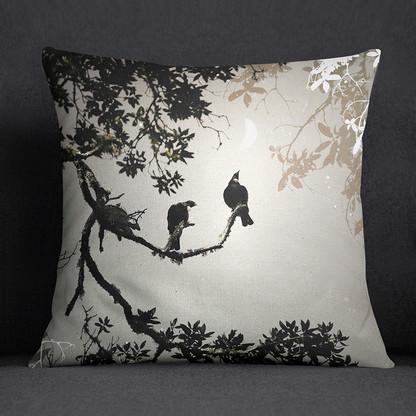 NZ Tui bird art cushion
