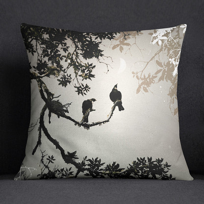 NZ Tui bird art cushion
