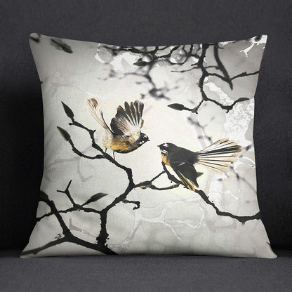 NZ Fantail Piwakawaka art cushion