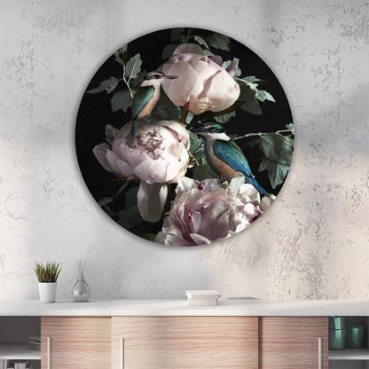''Princes in Peonies'' circular aluminium / glass artwork