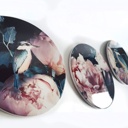 ** SPECIAL**  'Princes in Peonies' - set of 3 x 20cm diameter circular tiles