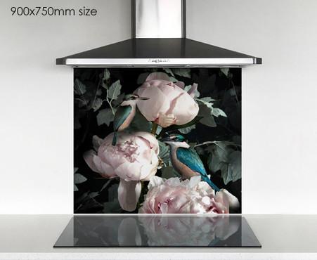 900x750mm NZ Kingfisher & pink Peony photo glass DIY splashback
