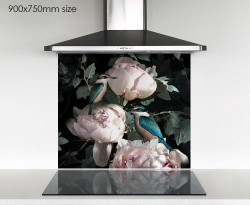 900x750mm NZ Kingfisher & pink Peony photo glass DIY splashback