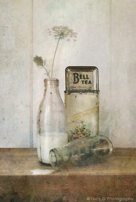 Vintage NZ milk bottle and Bell Tea photo art print for sale.