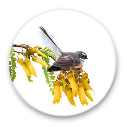 NZ fantail bird on kowhai flower circular wall art tile