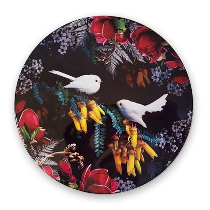 White Fantail circular art tile