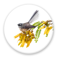 Fantail on Kowhai circular ceramic wall art tile